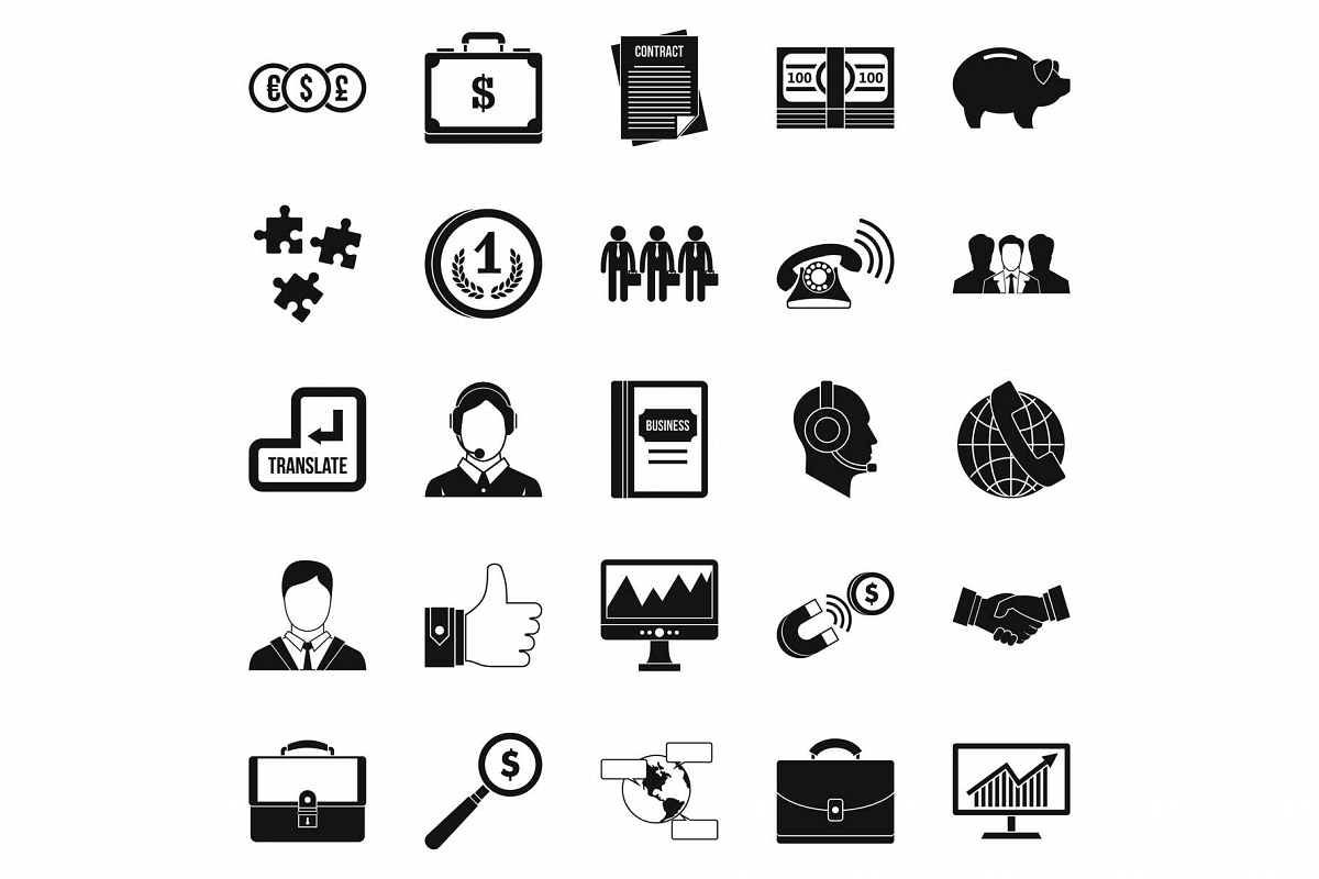 Business people icons set, simple style example image 1