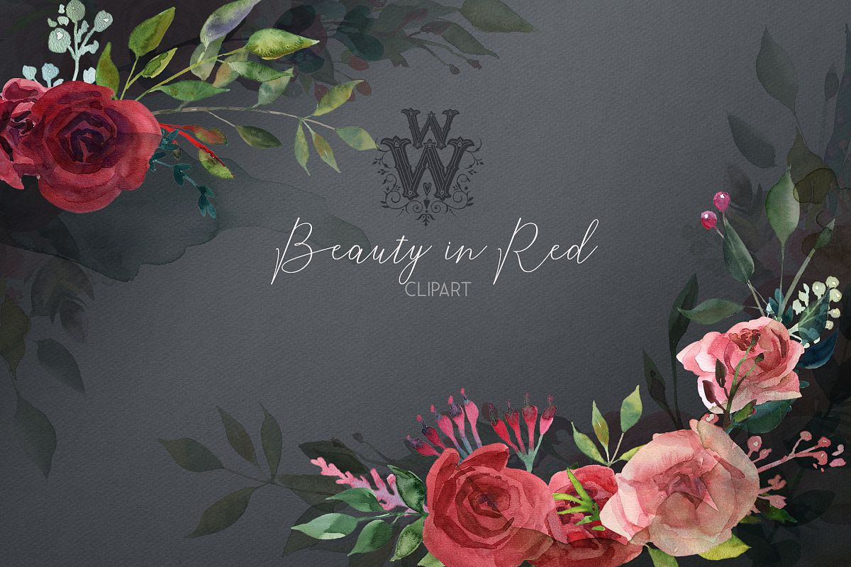 Watercolor red rose flowers wedding clipart, boho pink peony example image 1