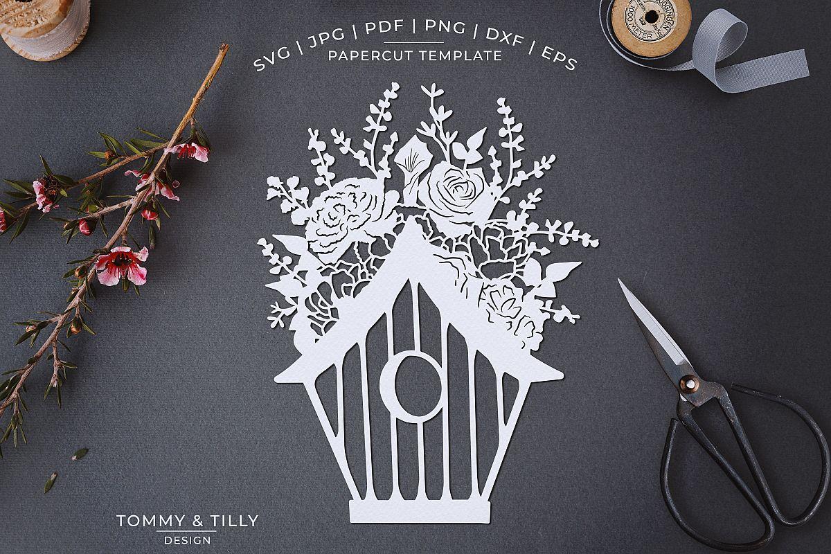 Romantic Floral Birdhouse - Papercut Template SVG JPG PNG example image 1
