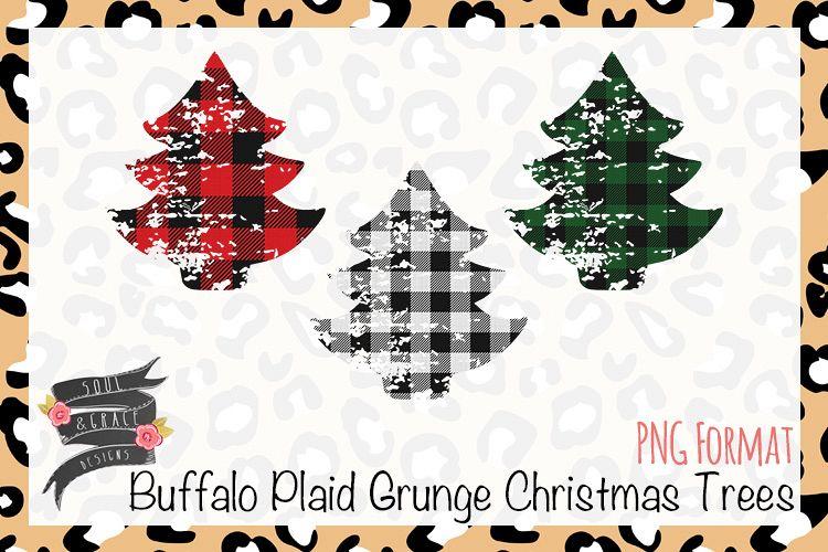 Buffalo Plaid Grunge Christmas Trees example image 1