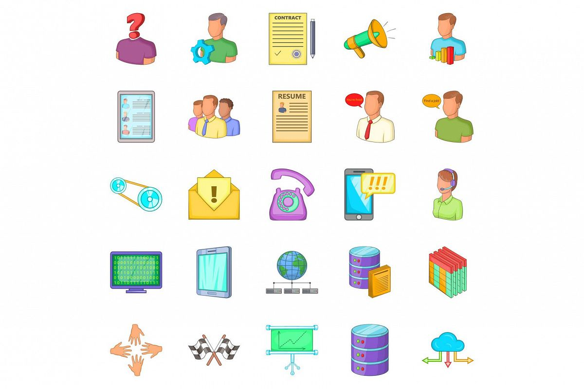 Huckster icons set, cartoon style example image 1