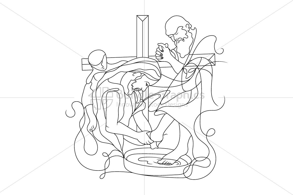 Foot Washing by Jesus Christ - Illustration example image 1