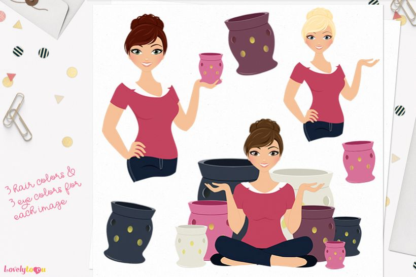 Woman candles character clip art L125 Juliet example image 1
