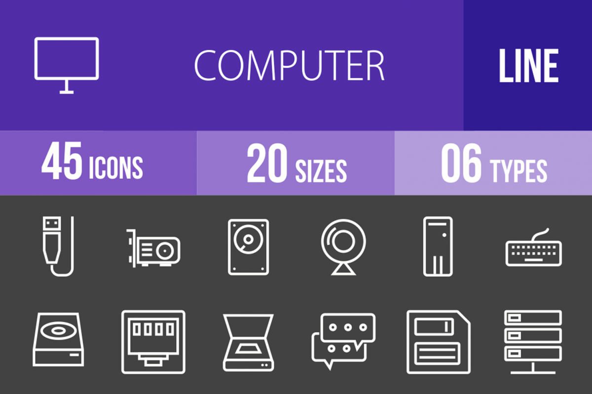 45 Computer Line Inverted Icons example image 1