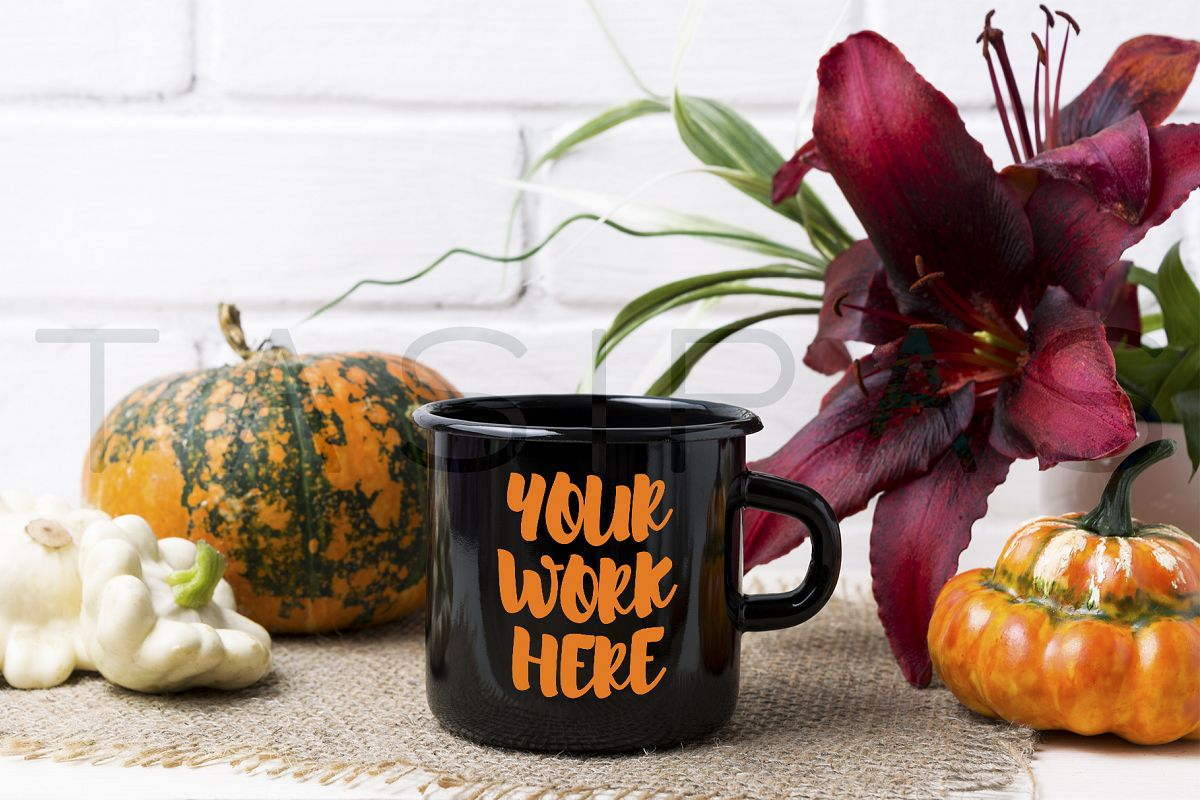 Black campfire enamel mug mockup with pumpkin and red lily. example image 1