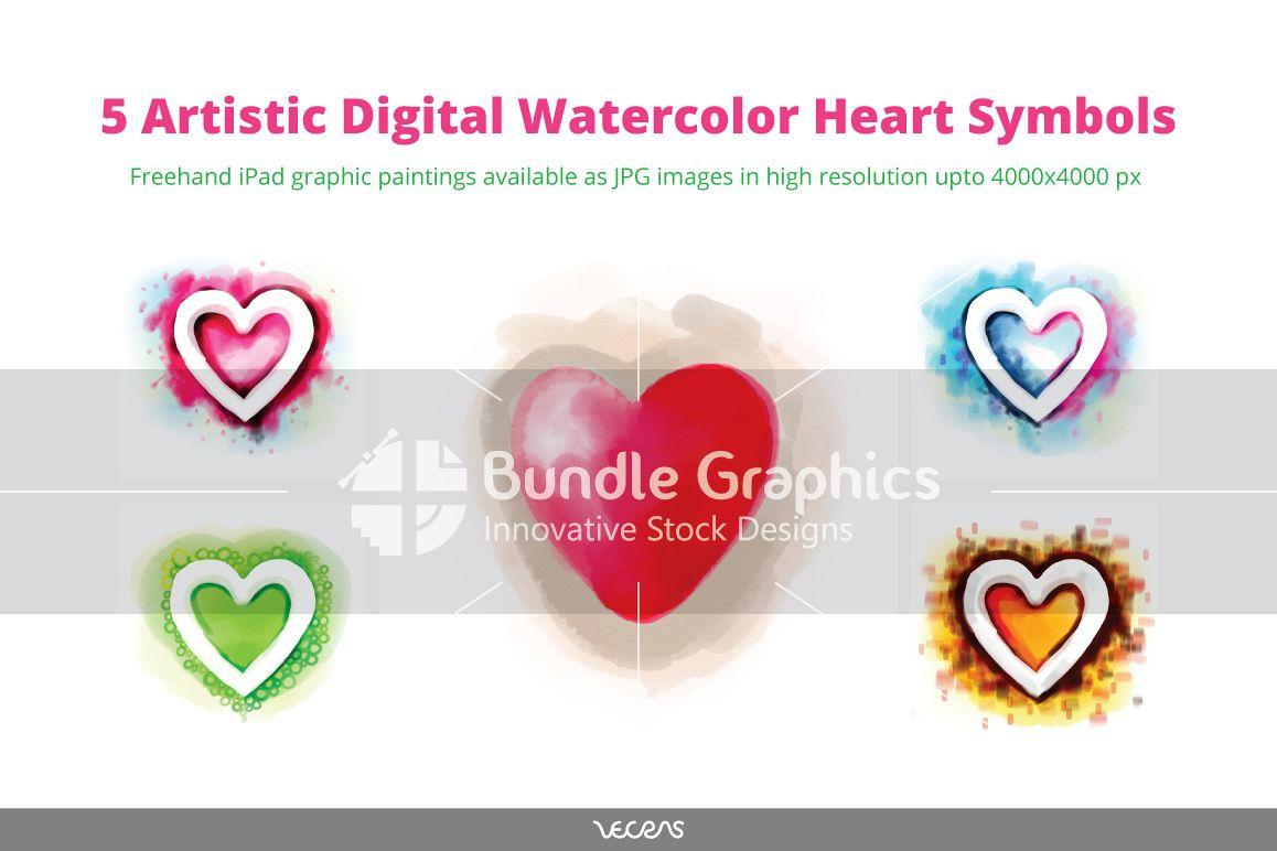 5 Artistic Digital Watercolour Heart Symbols example image 1
