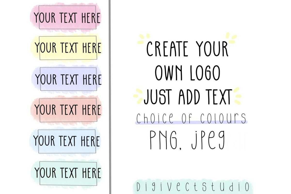 Create your own logo, logo design, pastel logo, watercolour example image 1