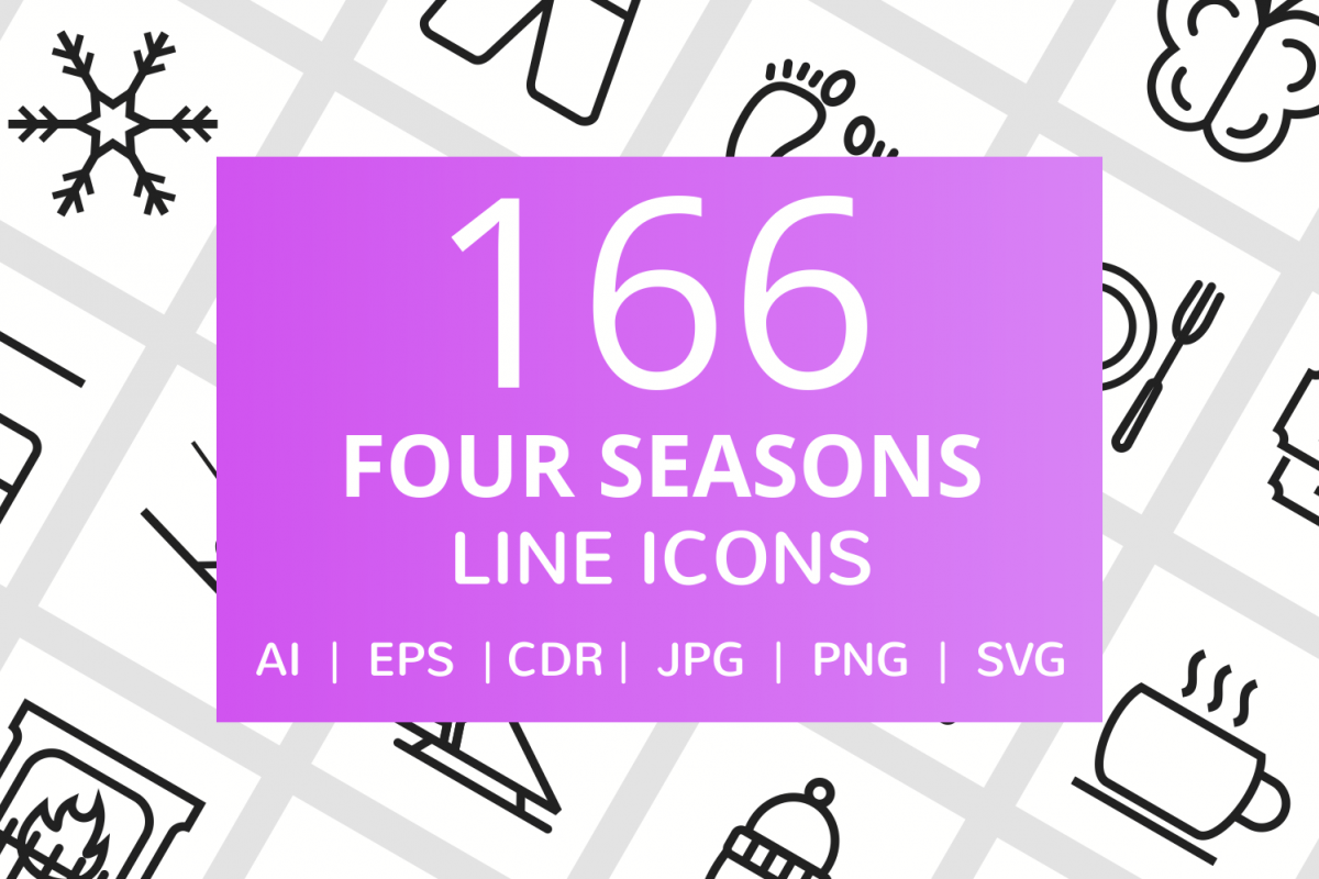 166 Four Seasons Line Icons example image 1