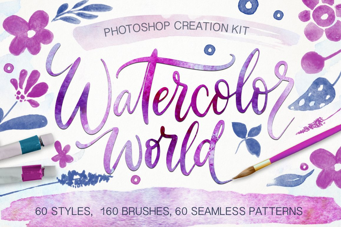 Watercolor world. Photoshop kit. example image 1