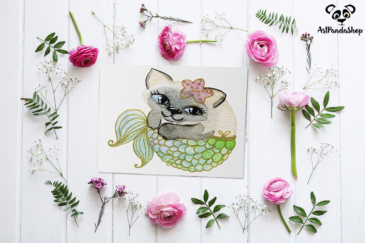 Cat fish cute mermaid watercolor cat print nursery printable example image 1
