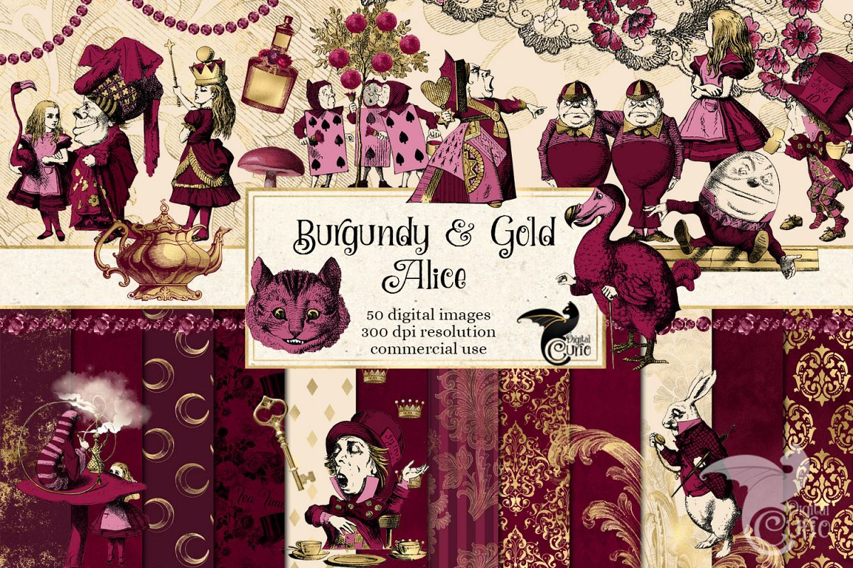 Burgundy and Gold Alice in Wonderland Graphics example image 1