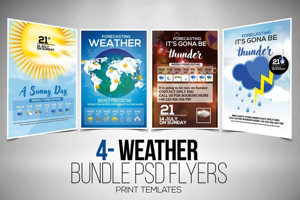 4 Weather Forcasting Flyers Bundle example image 1