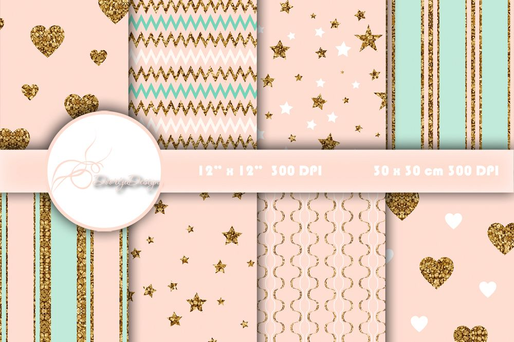 Digital Papers Gold, mint and pink example image 1