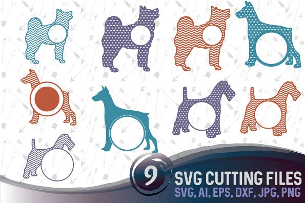 9 Dog Monograms Bundle SVG, DXF, JPG, PNG, DWG, AI, EPS example image 1