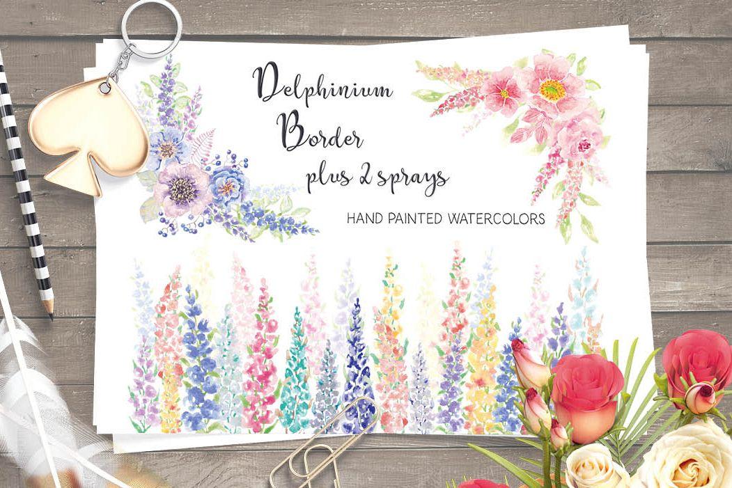 Watercolor border of Delphinium flowers example image 1