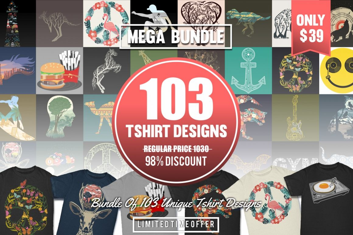 103 Tshirt Designs Mega Bundle example image 1