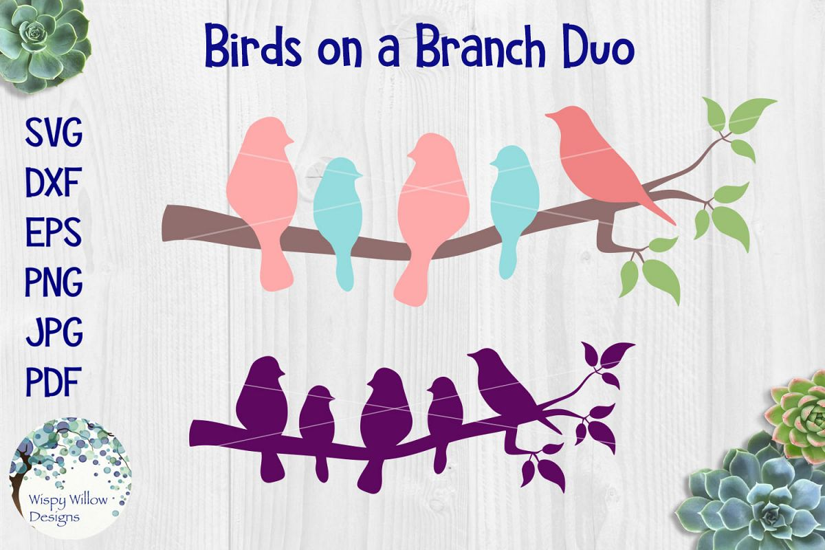 Birds On A Branch SVG Duo example image 1