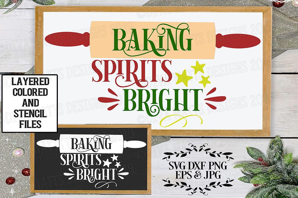 Baking Spirits Bright Christmas Cutting File example image 1