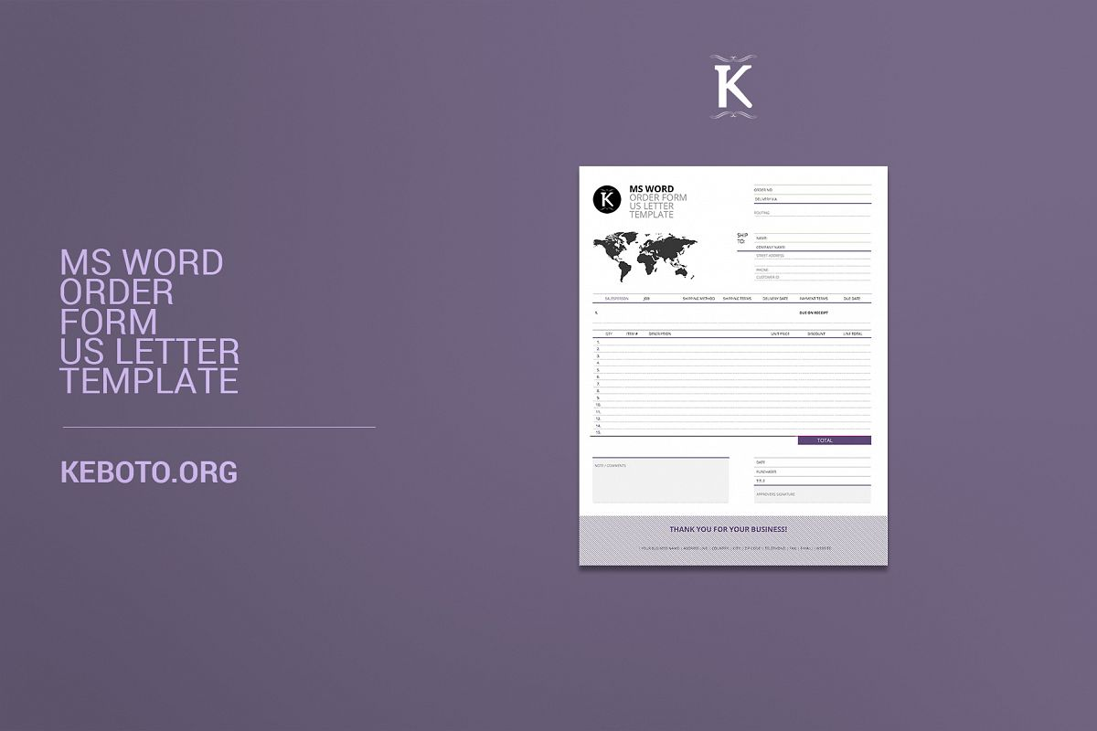 ms word order form template