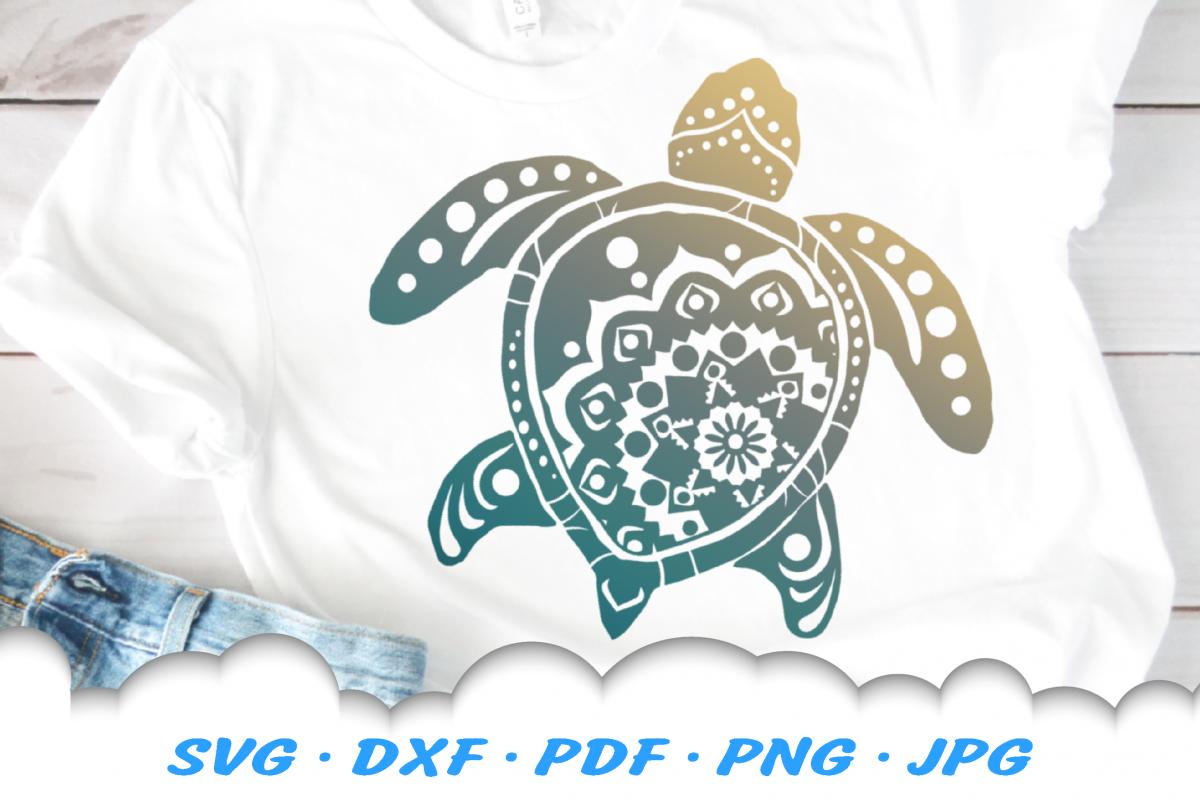 Mandala Sea Turtle SVG DXF Cut Files example image 1