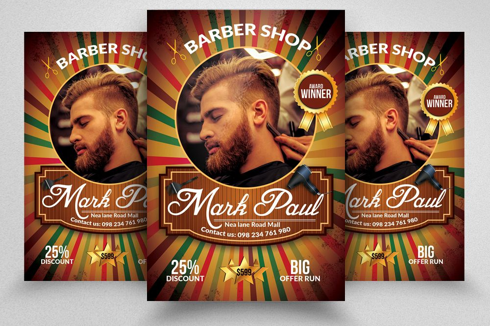 Barber Shop Psd Flyer Template example image 1