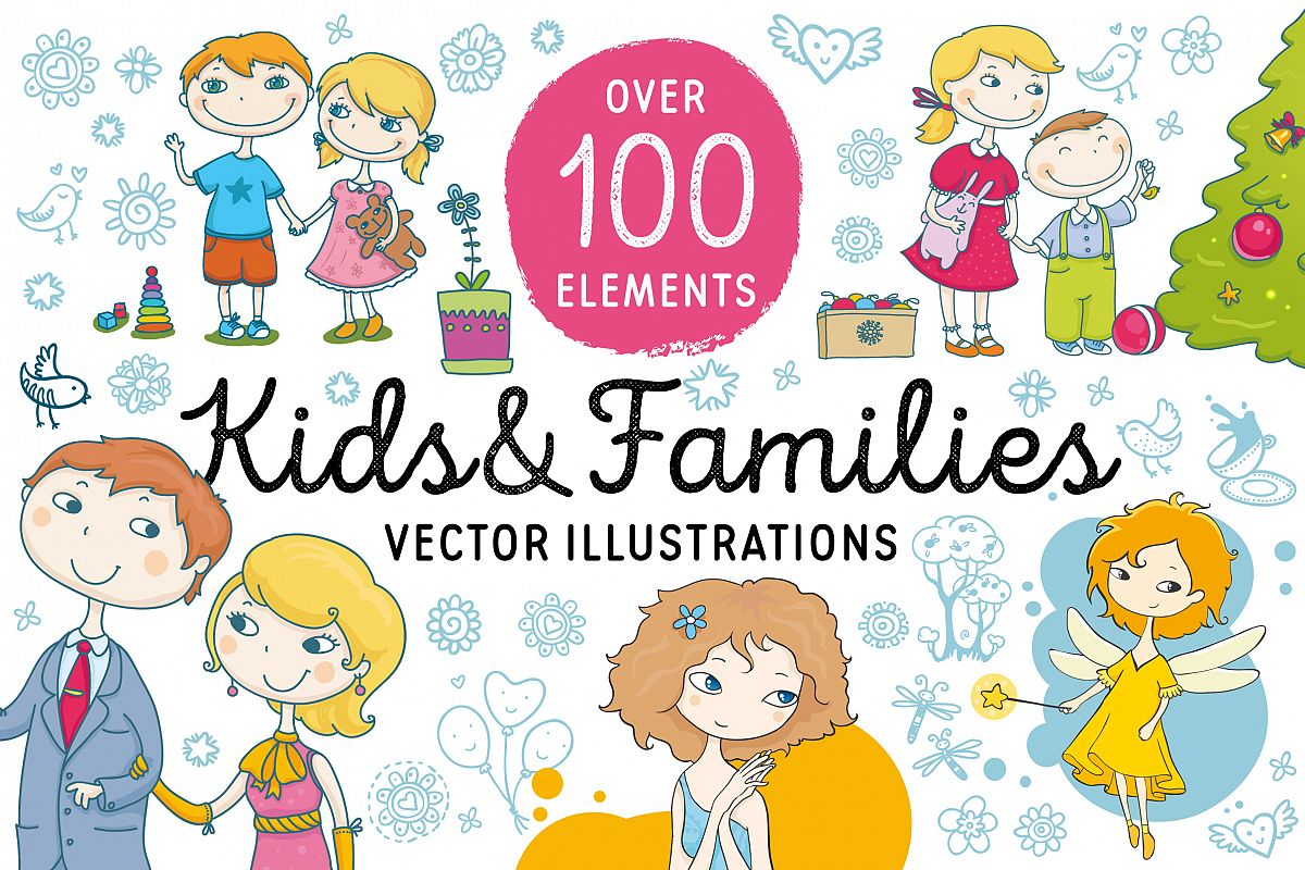 Kids and Families vector art example image 1
