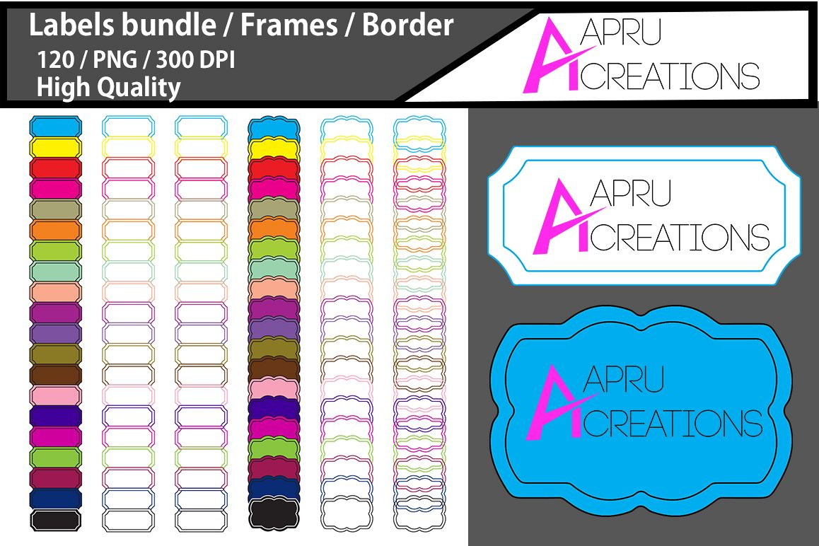 Label bundle / label high quality 120 / frames / borders / printable high quality designs / hand drawn frames / commercial use example image 1