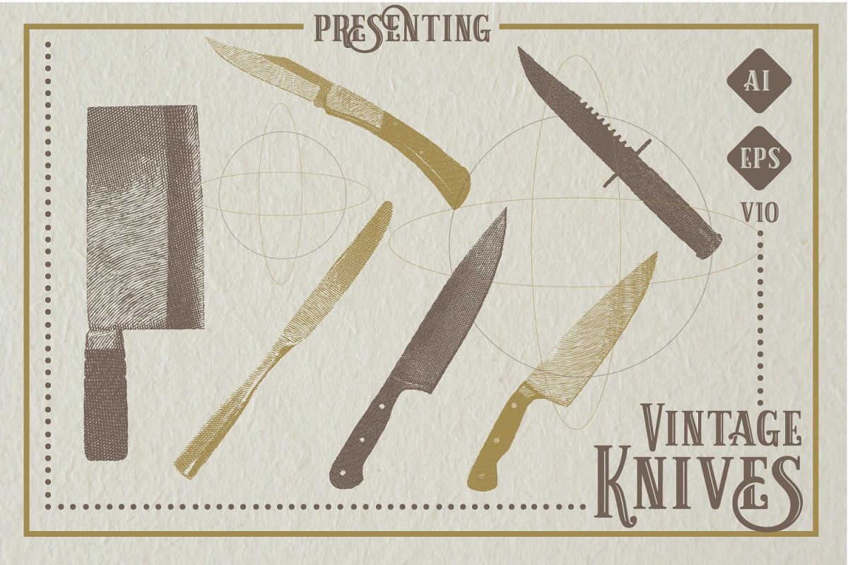 Set of 6 Vintage Knives Vector example image 1