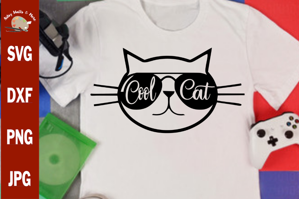 Cool Cat svg, funny cat svg cut file, funny cat shirt svg example image 1