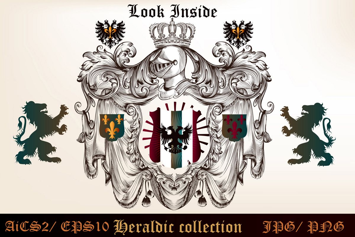 Heraldic bundle of detailed of shields  example image 1