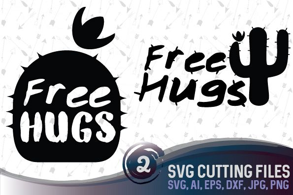 Free Hugs - 2 cute cactus designs suitable for cutting SVG, EPS, PNG, AI, JPG, DXF example image 1