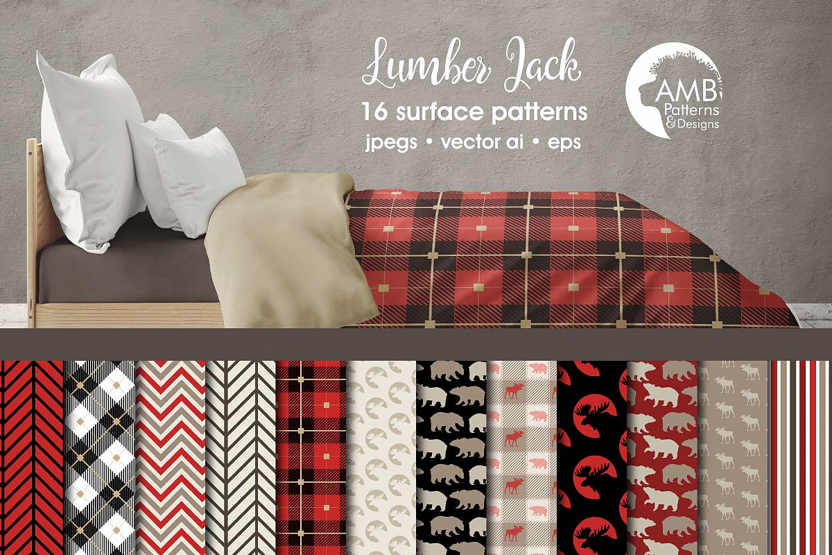 Lumberjack digital paper, lumberjack scrapbook paper, rustic digital paper, plaid, gingham, buffalo,moose paper, instant download, AMB-1871 example image 1