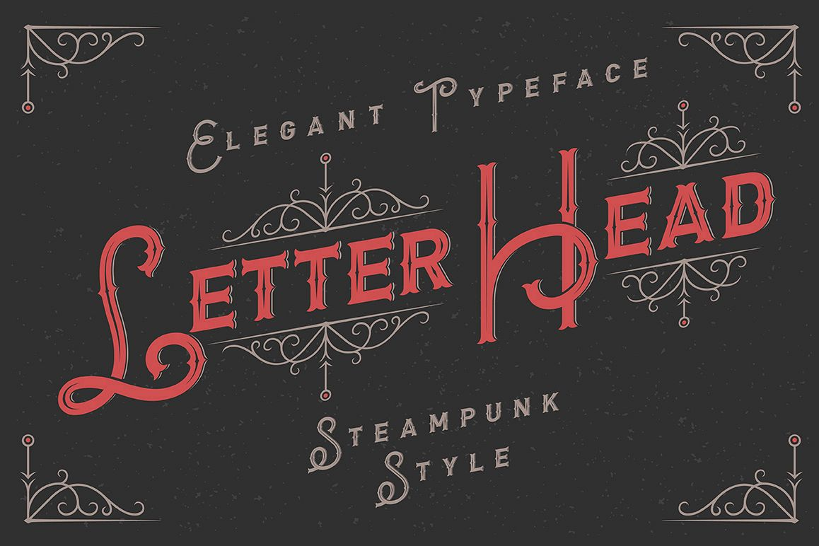 Letterhead typeface with ornate example image 1
