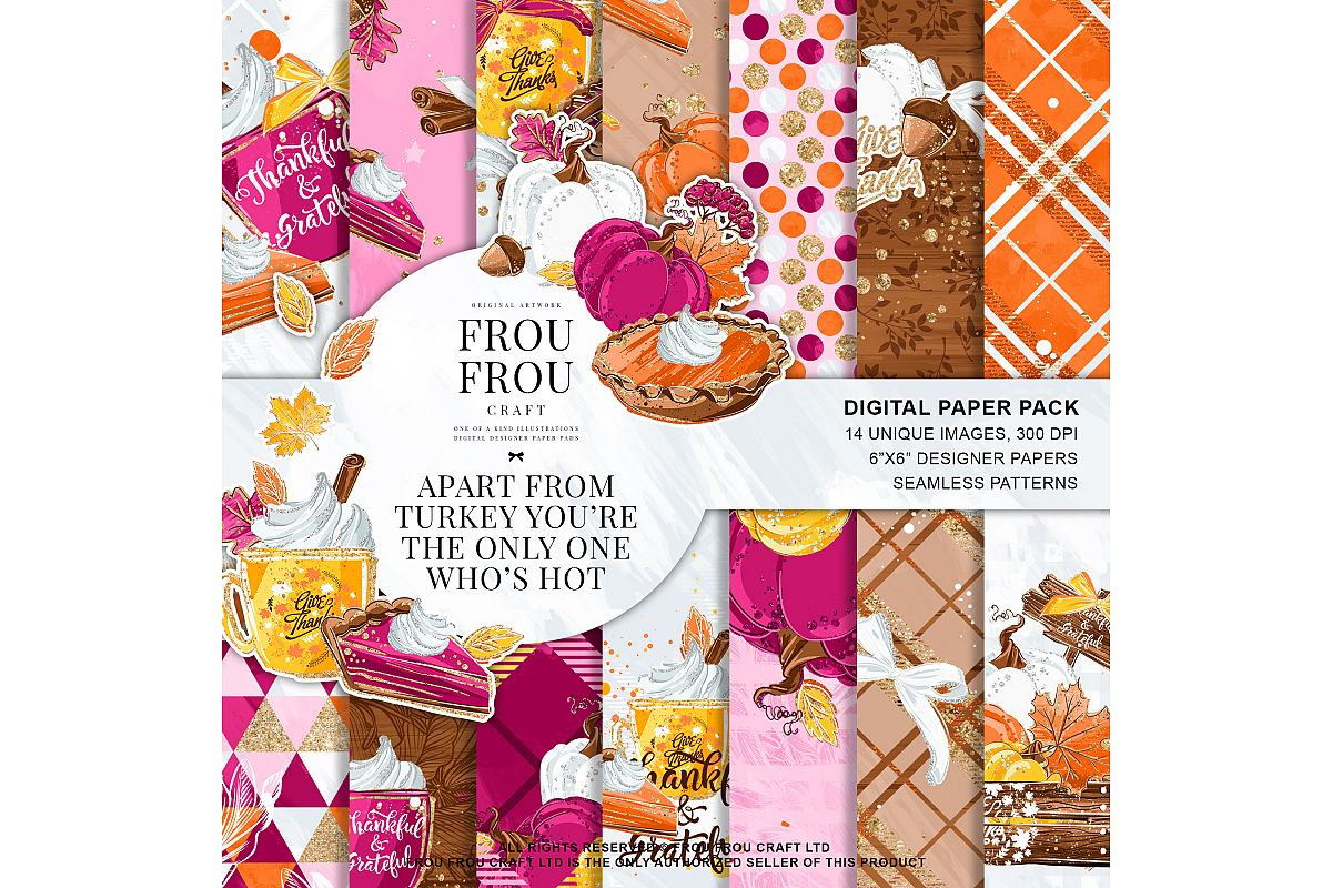 Sweets Cake Pumpkin Pie Fall Autumn Paper Pack example image 1