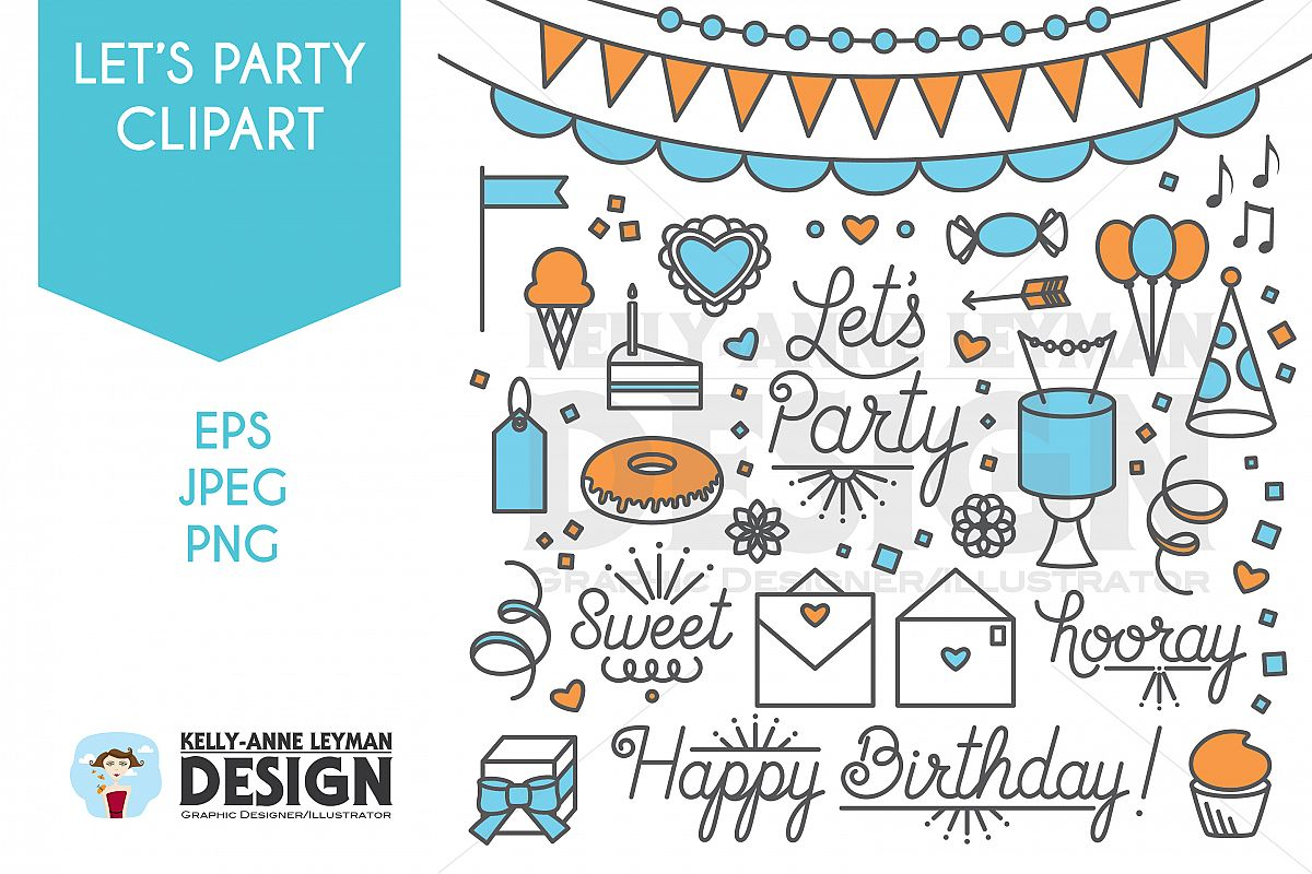 Happy Birthday Lets Party Clipart Word Clip Art Set Example Image 1