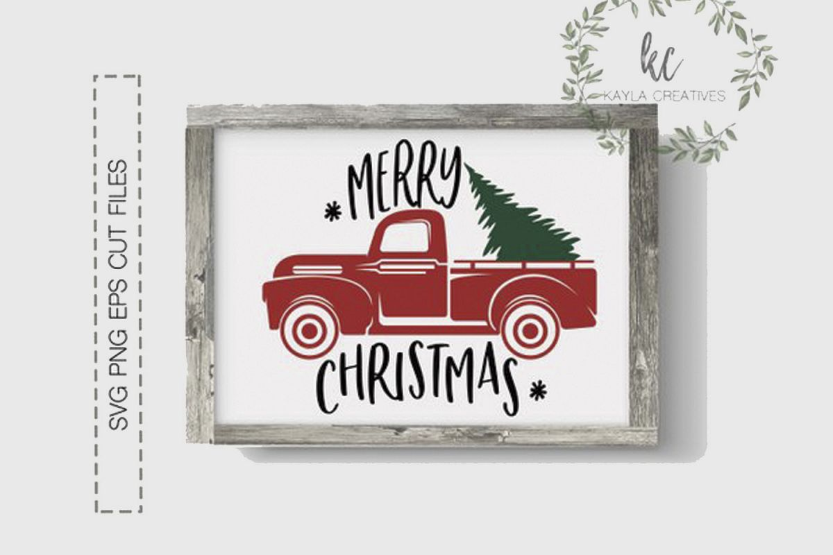 Christmas Red Truck.Merry Christmas Svg Christmas Red Truck Svg Christmas Svg
