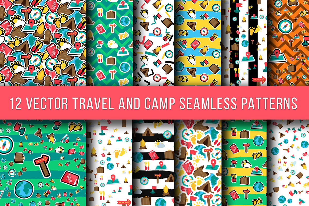Travel And Camping Seamless Patterns example image 1