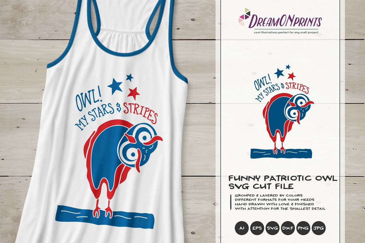 Oh My Stars and Stripes  Funny Patriotic Owl example image 1