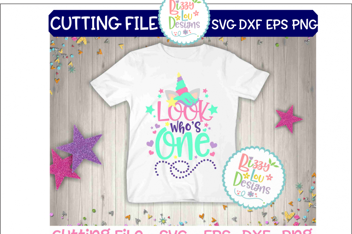 Look who's one SVG DXF EPS PNG cutting file example image 1
