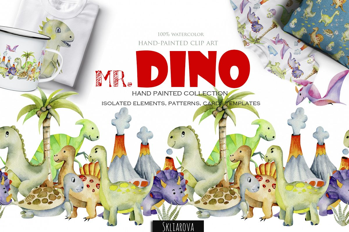 Mr.Dino. Watercolor clipart for kids example image 1