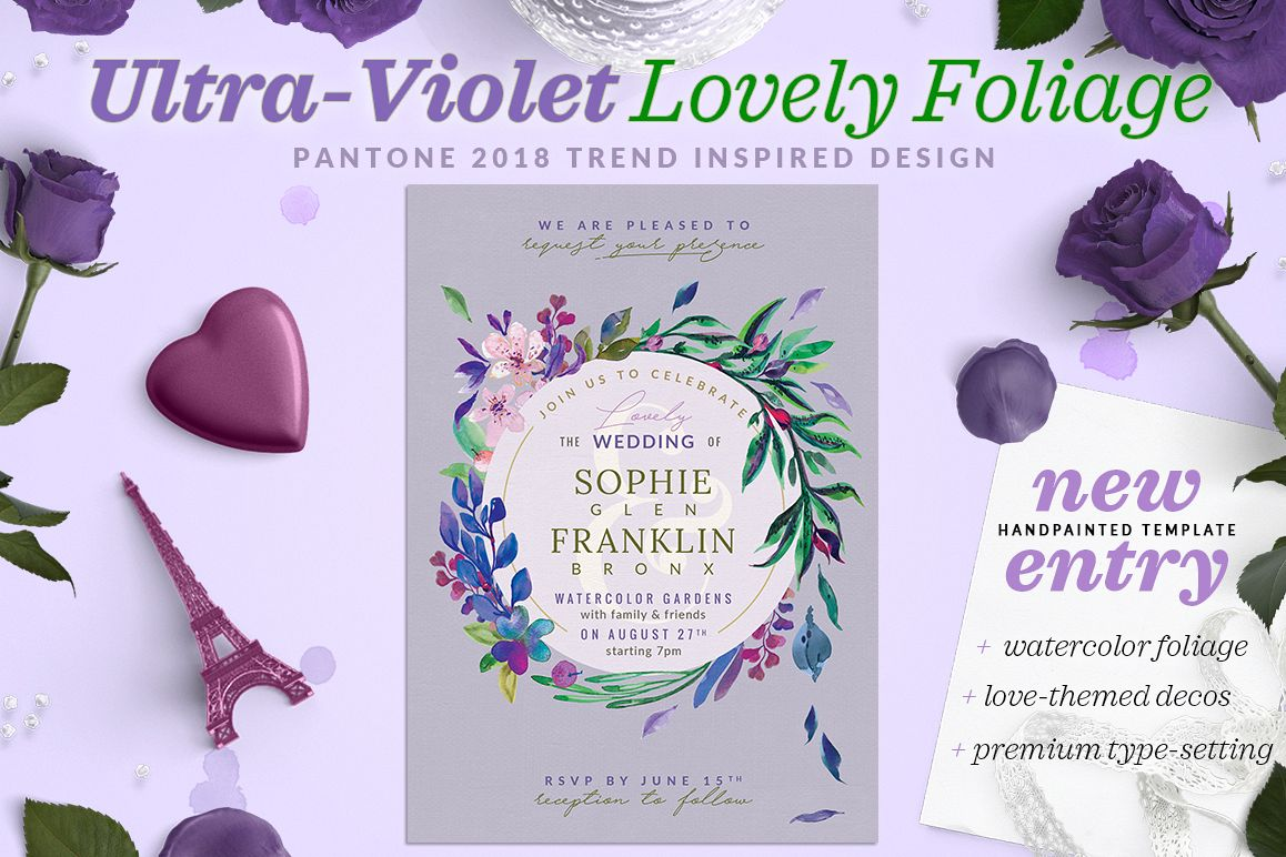 Ultra Violet Lovely Foliage Invite I Example Image 1