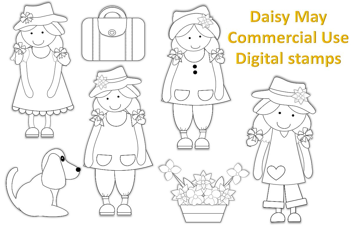 Daisy May Digital Stamps Clipart Illustration Commercial Use example image 1