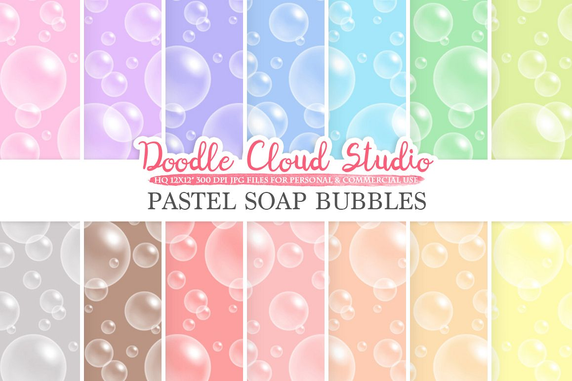 Pastel Soap Bubbles digital paper, Soap Bubbles pattern, Digital Bubbles, pastel background, Instant Download for Personal & Commercial Use example image 1