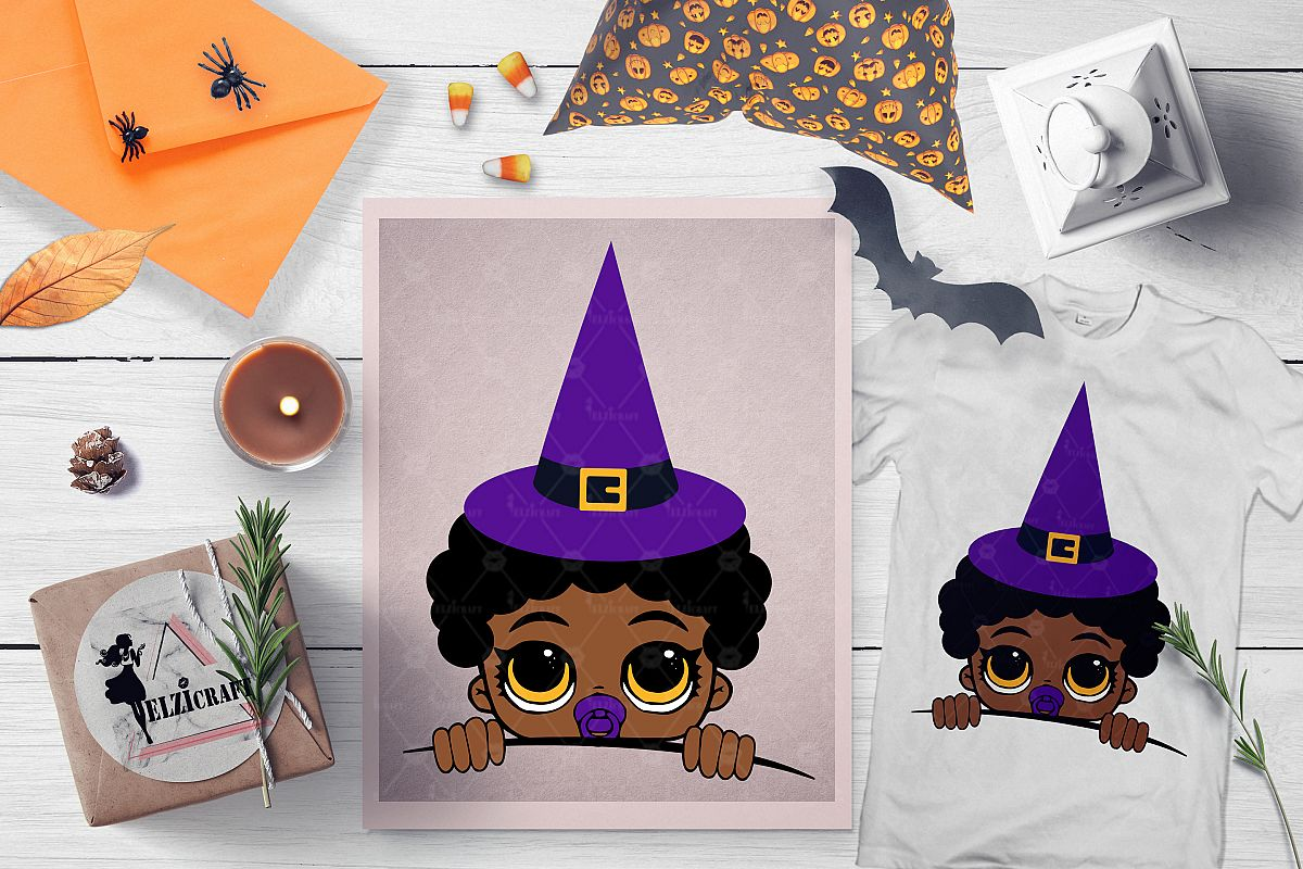 Halloween Peeking Witch Afro Baby Boy SVG Cut File example image 1