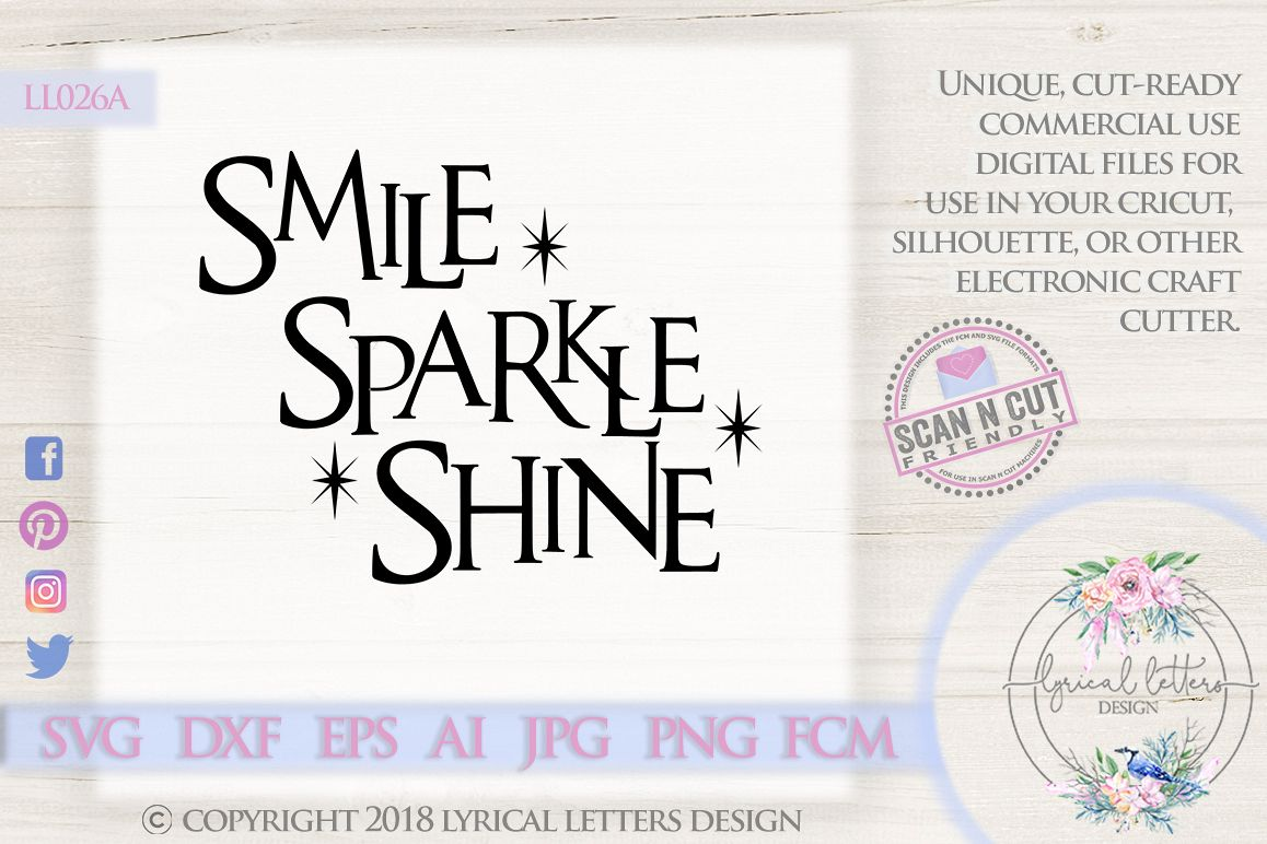 Smile Sparkle Shine Bathroom Quote SVG DXF LL026A example image 1