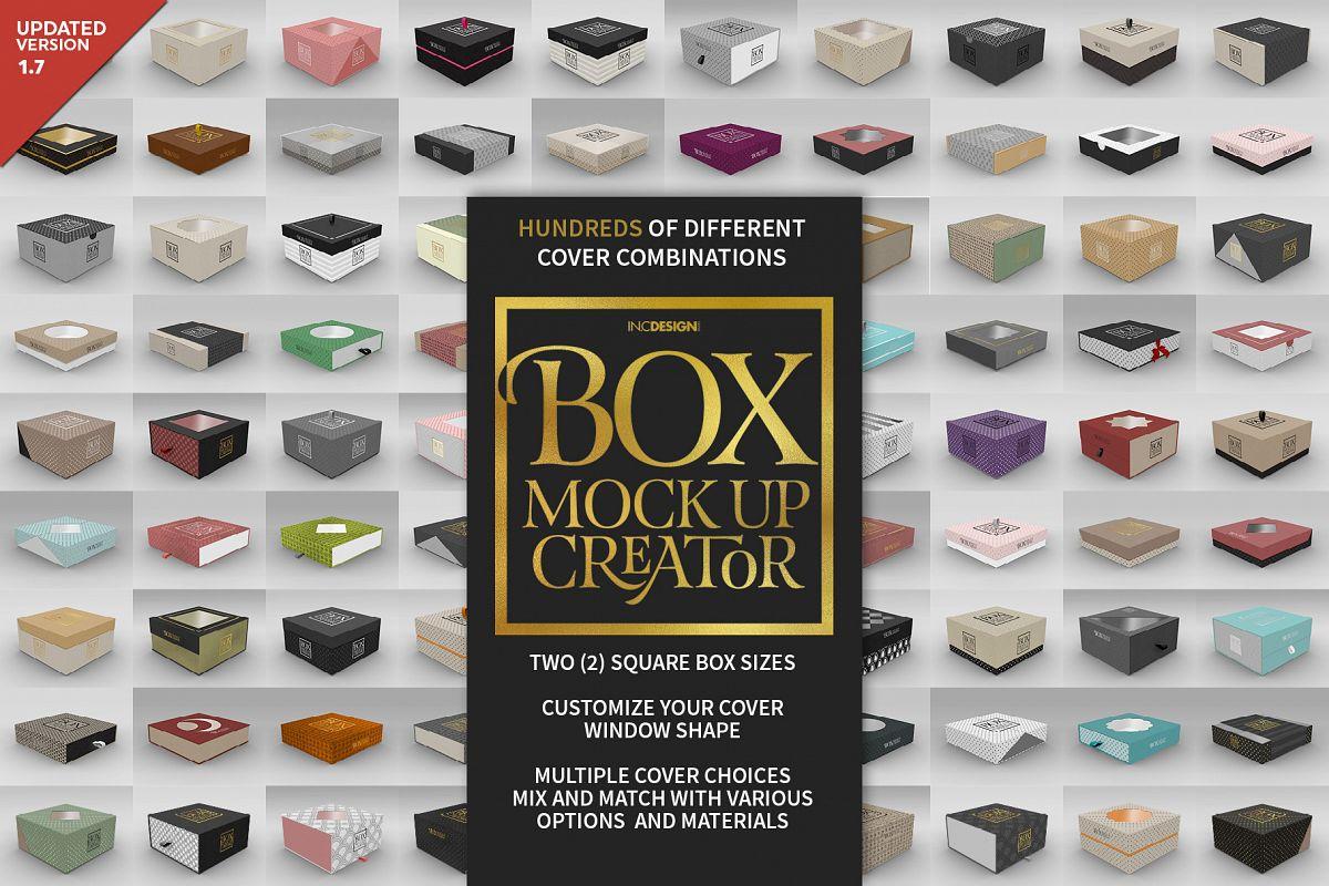 Square Box Packaging Mockup Creator example image 1