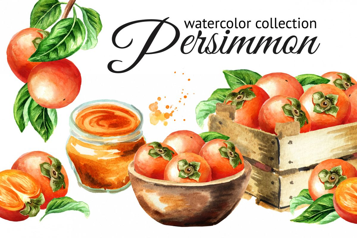 Persimmon. Watercolor set example image 1
