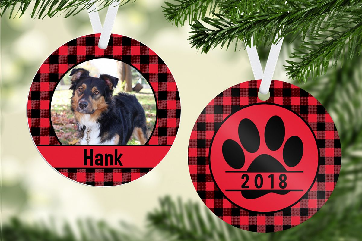 Plaid Pet Ornament Template example image 1