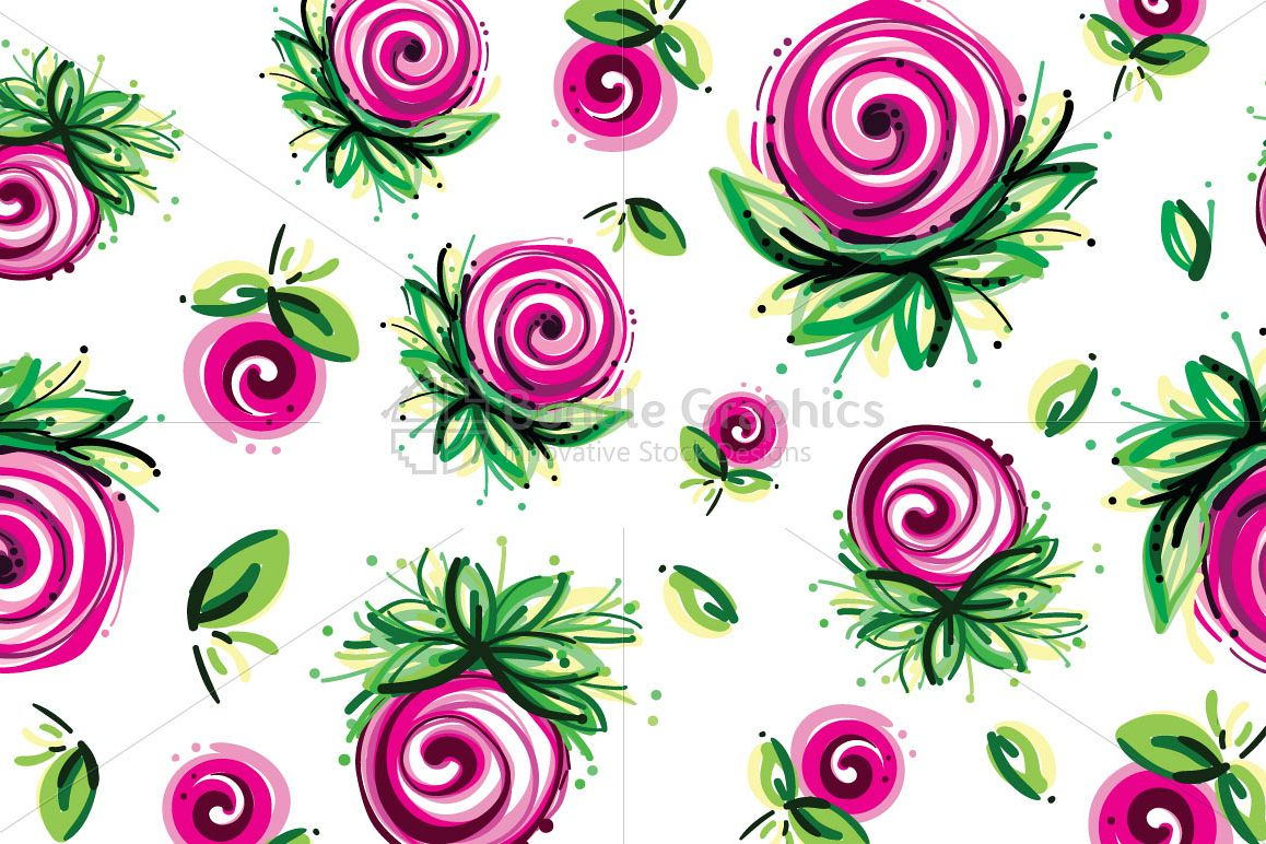 Pink Roses - Floral Seamless Background  example image 1