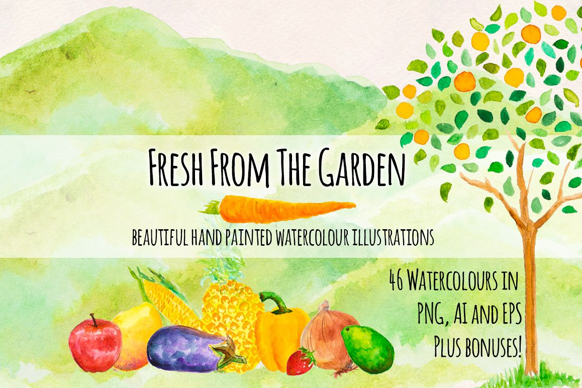 Fresh Fruits and Vegetables Watercolor Paintings Kit example image 1